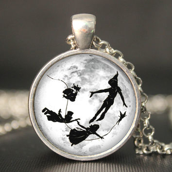 Peter Pan full moon pendant   necklace,game pendant necklace,kid friend gift girlfriend boyfriend gift Bridesmaid Gift