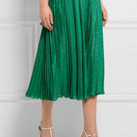Gucci - Pleated silk-blend jacquard midi skirt