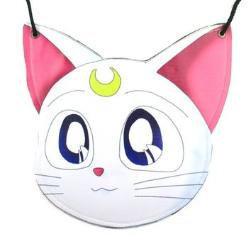 Sailor Moon Artemis Kitty Cat Face Shaped Vinyl Cross Body Bag