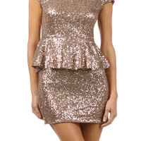 Peplum Sequin Party Dress