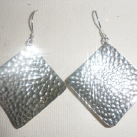 Sterling Silver Single Hammered Square Dangle Earrings