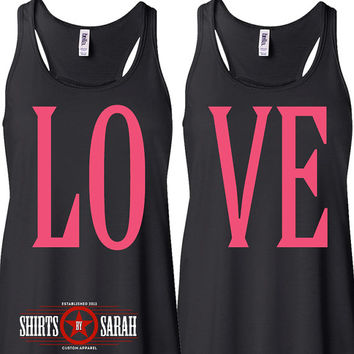 Women's Love Best Friends Tanks - Tank Tops Shirts Besties Summer Shirt Flowy Soft Black