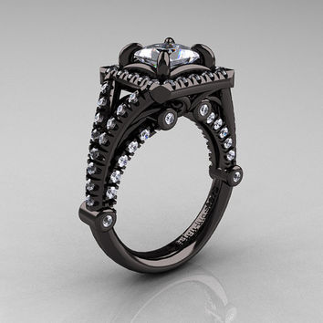 Modern Art Nouveau 14K Black Gold 1.23 Carat Princess Russian CZ and White Diamond Engagement Ring, Wedding Ring R336-14KBGDCZ