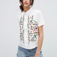 Vero Moda Embroidered Short Sleeve Shirt at asos.com