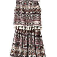 Multicolor Printed Tassel Mini Dress