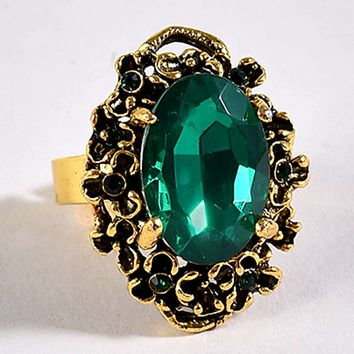 Antique Style Large Gold Emerald Adjustable Ring