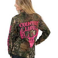 Country Life Women's Camo with Neon Pink Bone Logo & Skull Design Long Sleeve Tee