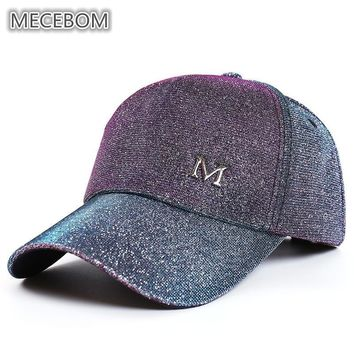 Trendy Winter Jacket 2018 Glitter Ponytail Baseball Cap Women Messy Bun Baseball Hat Summer Outdoor Discoloration Snapback Casual Adjustable Caps C9 AT_92_12