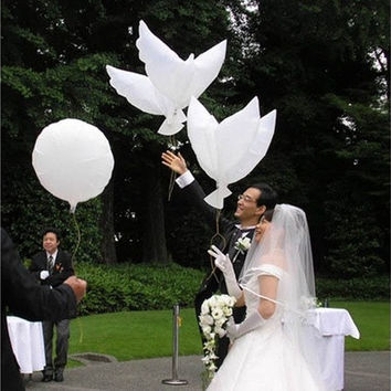 Newcomdigi White Dove Birds Wedding Balloons Party Memorial Ceremony Birthday Decoration [7983379271]