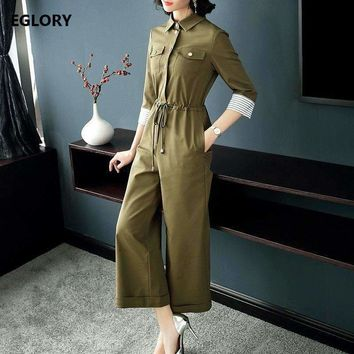 Long Rompers Jumpsuits Women Turn-Down Collar Drawstring Waist 3/4 Sleeve Loose Jumpsuit