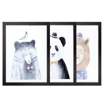 30*40cm Animal Pattern Canvas Prints Removable Wall Picture Art Decal Room Decoration Beautiful Reusable Painting 3 Panels with Frame Housewarming Gift