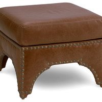 "Candemir 24"" Leather Ottoman,  Chocolate, Ottomans"