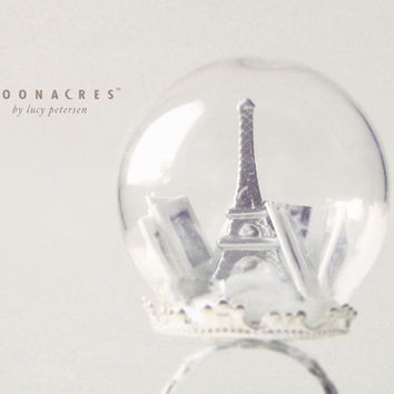 paris by post .  terrarium ring . snow globe ring . glass dome ring . glass globe ring . france . french . unique . christmas gift