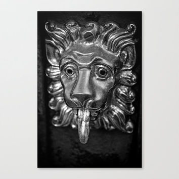 lion door knocker Leo metallic cat lover wrought iron black and white fine art photography travel New Orleans wall decor gifts under 50
