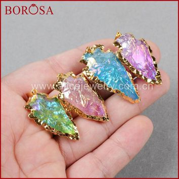 BOROSA Fashion Crystal bead , Quartz Crystal arrowhead pendants  Gold Quartz Druzy Necklace bead G525