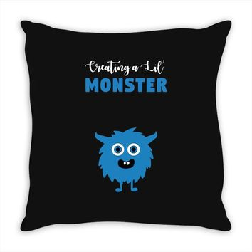 Creating A Lil Monster Baby Boy Throw Pillow