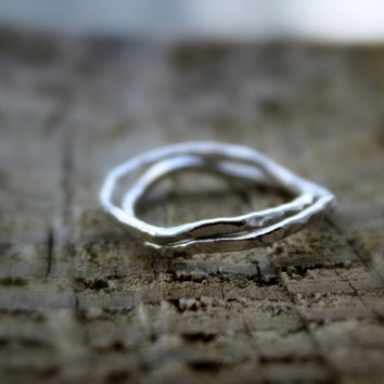 Two (2) Sterling Silver Slender Stacking Rings, Stacking bands, Unique, Hammered Delicate Rings, Friendship rings