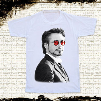 Size L -- RDJ Robert Downey Jr T Shirt Iron Man T Shirts Red Glasses Shirts Unisex T Shirts Women Shirts White T Shirts Movie T Shirts