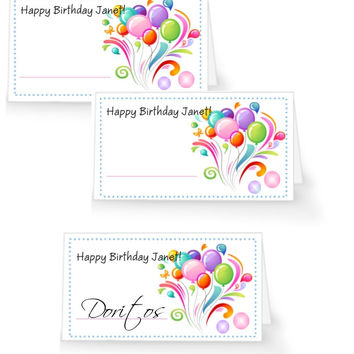 Colorful Birthday Party Table Tent Place Cards