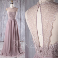 2017 Rose Gray Chiffon Lace Bridesmaid Dress, Key Hole Back Wedding Dress, A Line Prom Dress, Long Maxi Dress Floor Length (L229)