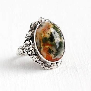 Vintage Agate Ring - Retro Silver Green & Red Genuine Moss Agate Gem Cabochon - 1960s Size 6 Oval Gemstone Flower Leaf 60s Statement Jewelry