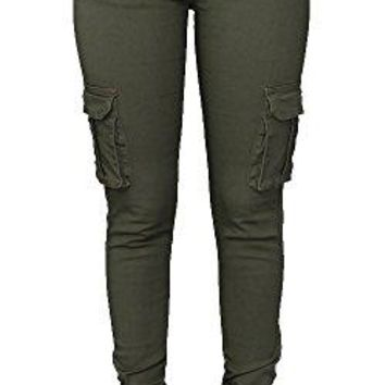 Pxmoda Womens Casual Stretch Drawstring Skinny Pants Cargo Jogger Pants