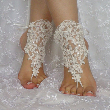 ivory sequined beach wedding barefoot sandal Handmade embroidered sequins modern elegant