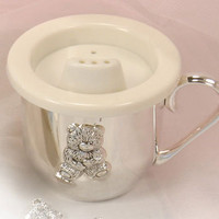 Personalized Silver Plated Sippy Cup: Bear Sippy Cup