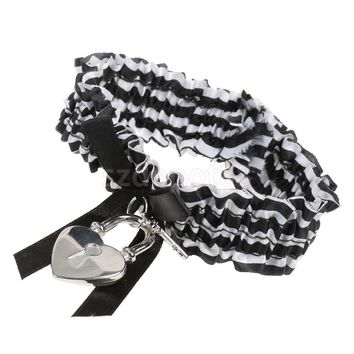 Convict Cutie Black White Leg Garter Heart Lock Key Sexy Fancy Dress Costume