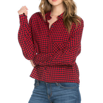 Gingham Shirt Red Navy