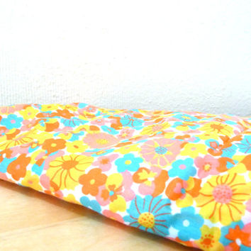 Vintage Bright Floral Fabric / Flower Power Fabric / 60s Fabric / Orange and Yellow / Floral Print Fabric
