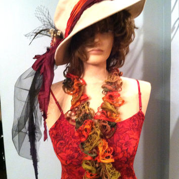Flapper Gatsby Roaring 20s  3-pc Complete Costume, Size Small. Red with Hat and Boa.  FREE US Shipping!