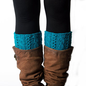Cable Boot cuffs Hand knitted blue turquoise Wool Boot socks
