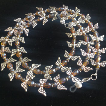 Amber and Silver Angel Eyeglass Chain