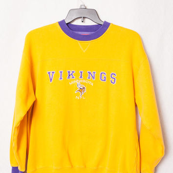 Yellow & Purple Vikings Men's Embroidered Sweatshirt, NFL Minnesota Vikings Large Sweatshirt, Large NFL Vikings Sweater, Vintage Vikings