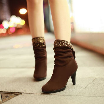 Autumn Women Boots Winter Shoes Woman Studded Flock Women Boots Heels (US Size) = 1945919620