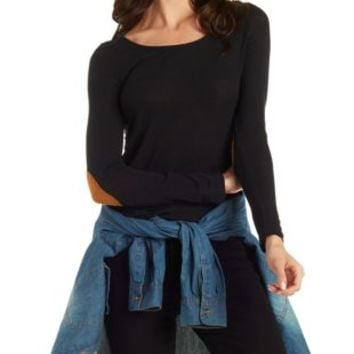 Scoop Neck Top with Faux Suede Elbow Patches