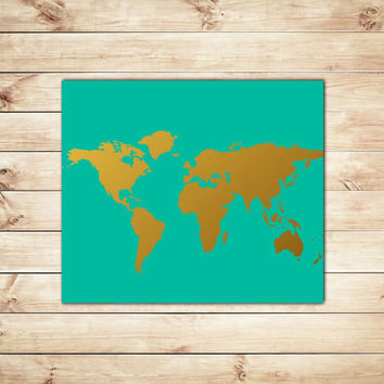 Shop gold foil world maps on wanelo turquoise and gold world map faux gold foil print map printstypography gumiabroncs Images