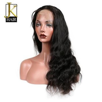 Brazilian Remy Glueless Full Lace Human Hair Wigs With Baby Hair Body Wave Pre Plucked Bleached Knots With Bangs Elegant Queen