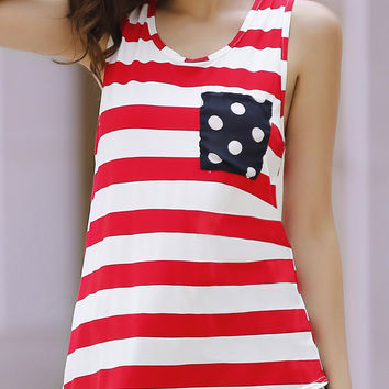 Stripe Polka Dot Patched Bow Accent Tank Top