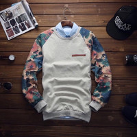 Floral Art Crewneck Gray