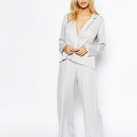 ASOS | ASOS Moss Satin Piped Pajama Top & Wide Leg Set at ASOS