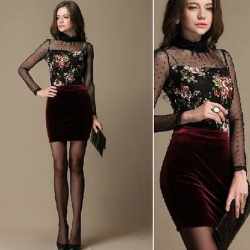 New Women slim hips Velvet mini skirt tight plus size XXL