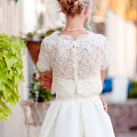 Christine - 2 piece Tea length Wedding Dress, Reception Dress, lace bolero, shrug