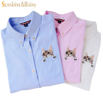 New High Quality Spring Autumn Women Blouse Cats Embroidery Long Sleeve Work Shirts Women office Tops White shirts for business