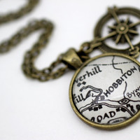 Map Jewelry, Lord of the Rings 'Hobbiton' Book Page Necklace