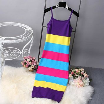 Rainbow Color Patched Lightweight Ladies Summer Dress