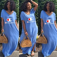 Champion Hot Sale Fashionable Women Casual Round Collar Short Sleeve Long Dress Blue