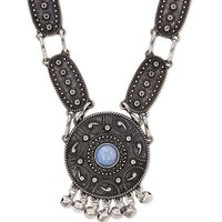 Gypsy Warrior Textured Stone Necklace - Womens Jewelry - Matte Silver - One