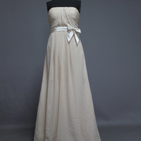 A-line Strpless Floor Length Chiffon Bridesmaid Dress with Bow Prom Dress Evening Dress